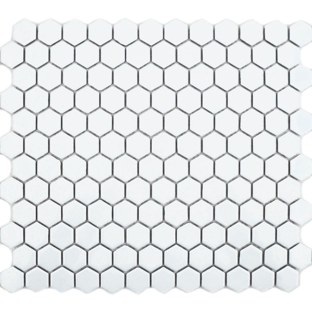 White Gloss Hexagon Mosaic Tiles