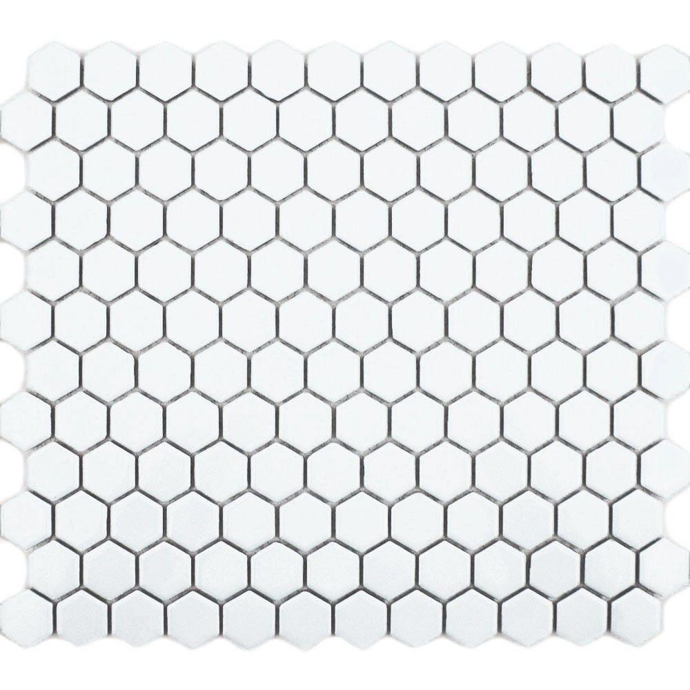 White Hexagon Matt Tiles