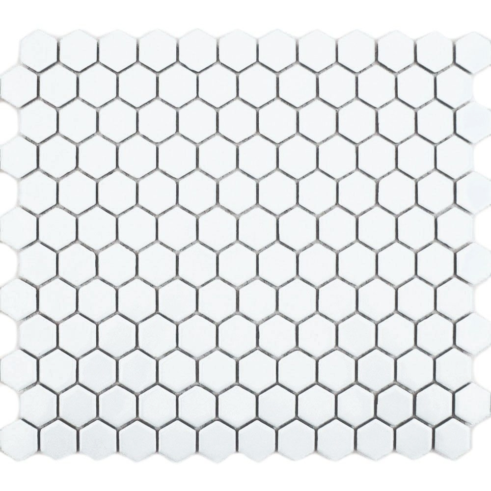 Matt White Hexagon Mosaic Tiles
