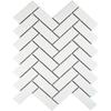 Bijou White Matt Herringbone Mosaic Tiles