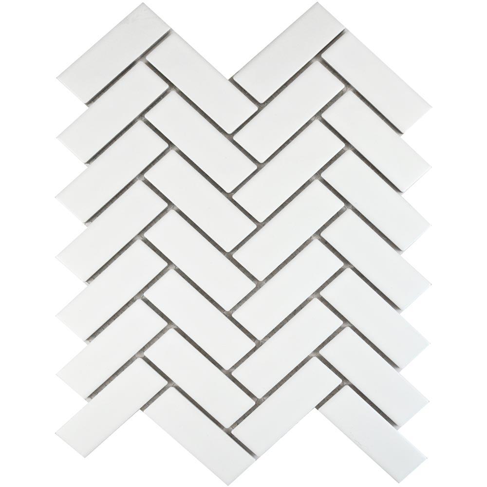 White Matt Herringbone Mosaic Tiles