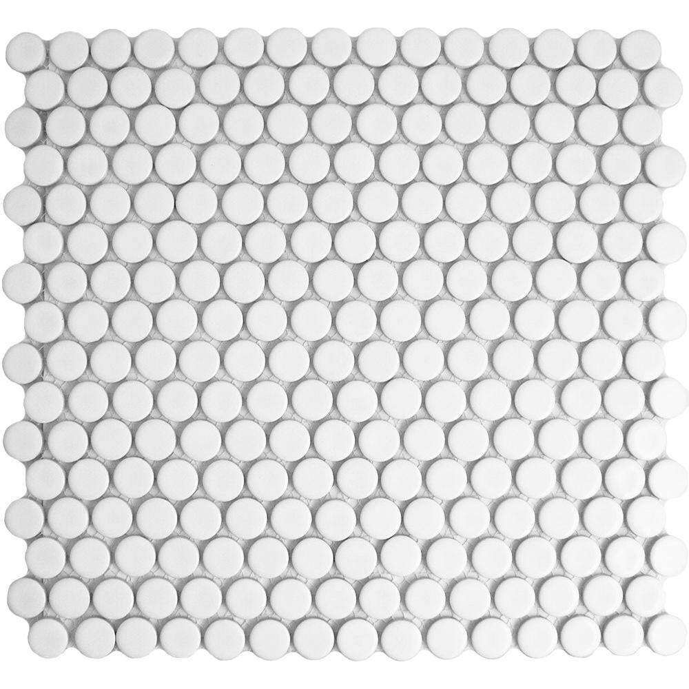 Circular White Matt Mosaic Tiles