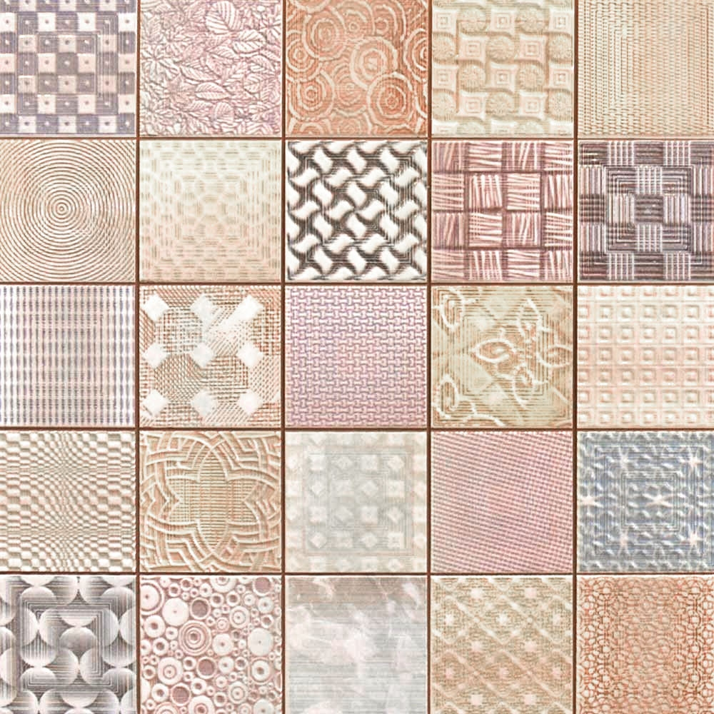 Patchwork Kitchen Wall Tiles: Fabric Tiles Patchwork Mosaic Effect Tiles 333x333x9mm Tiles