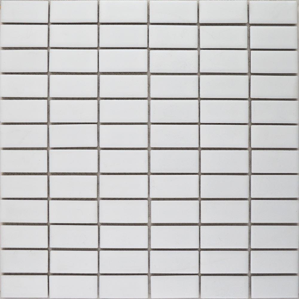 Matt White Brick Mosaic Tiles