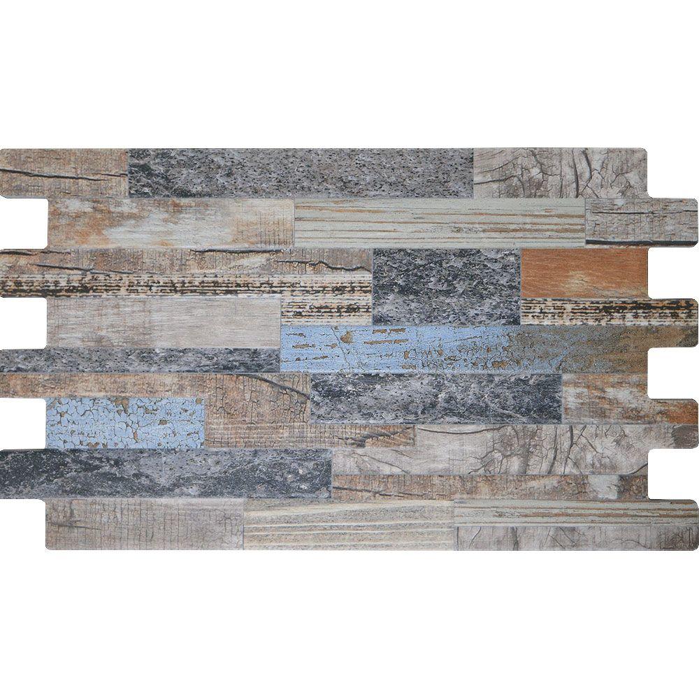 Blue Mix Split Face Wood Tiles