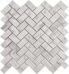 Herringbone Carrara Marble Mosaic Tiles
