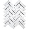 White Gloss Herringbone Mosaic Tiles
