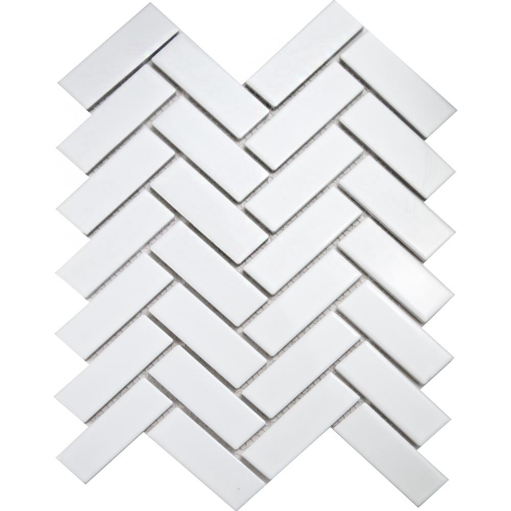 White Gloss Herringbone Mosaic Tiles