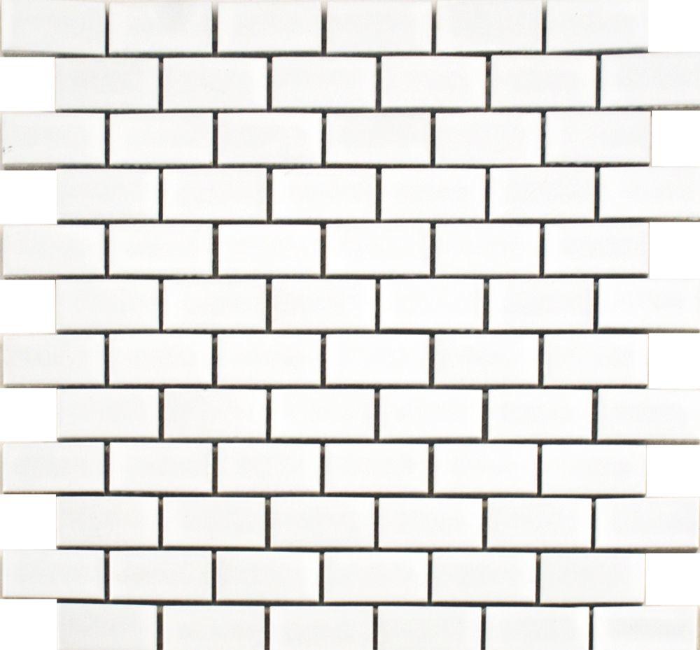 Gloss White Brick Bond Tiles