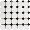 Black Octagon Mosaic Tiles