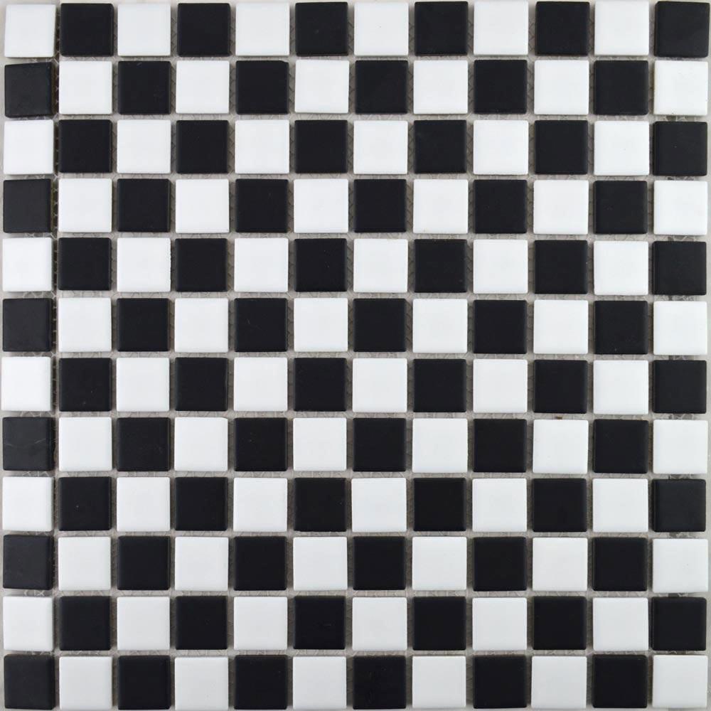 Black and White Chequer Matt Mosaic Tiles