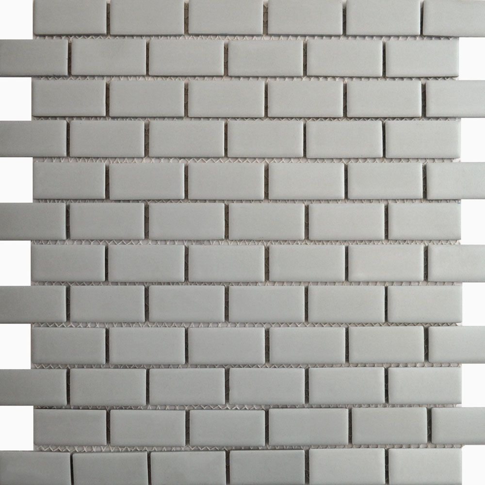 Matt Grey Brick Bond Mosaic Tiles