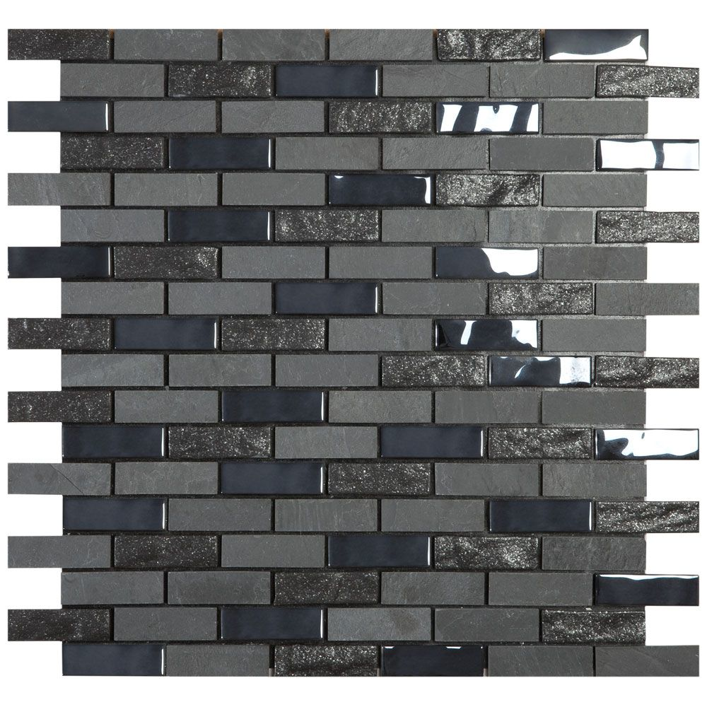 Textured Black Mix Mosaic Tiles
