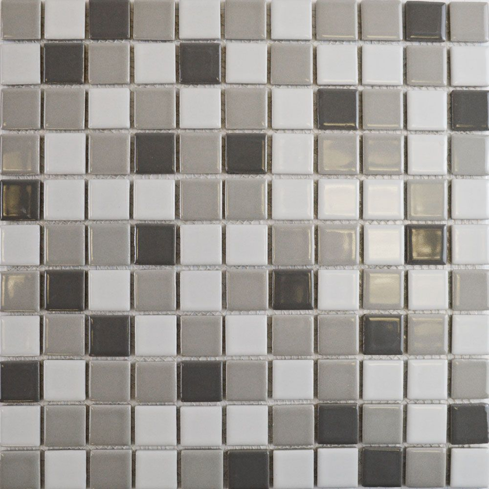 Gloss Grey Mix Square Mosaic Tiles
