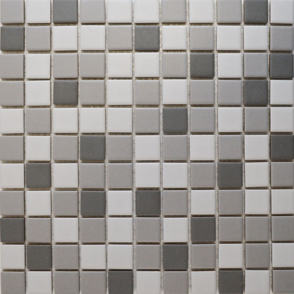 Matt Grey Mix Square Mosaic Tiles