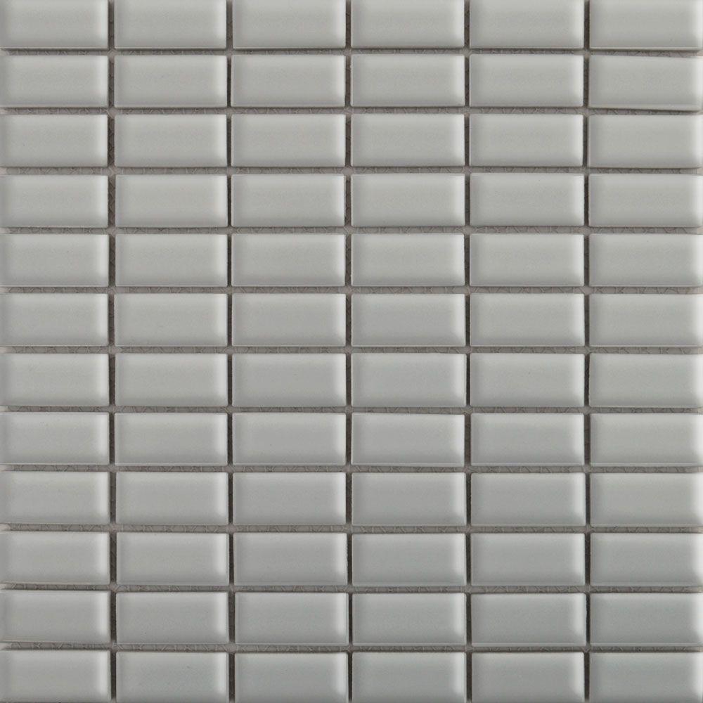 Gloss Grey Brick Mosaic Tiles