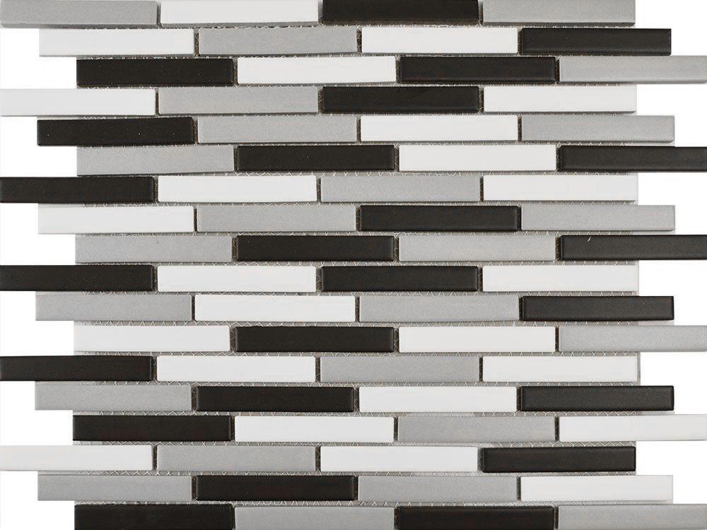 Matt Grey Blend Long Brick Mosaic Tiles