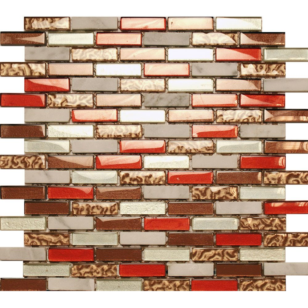 Copper Bronze Brick Bond Mosaic Tiles