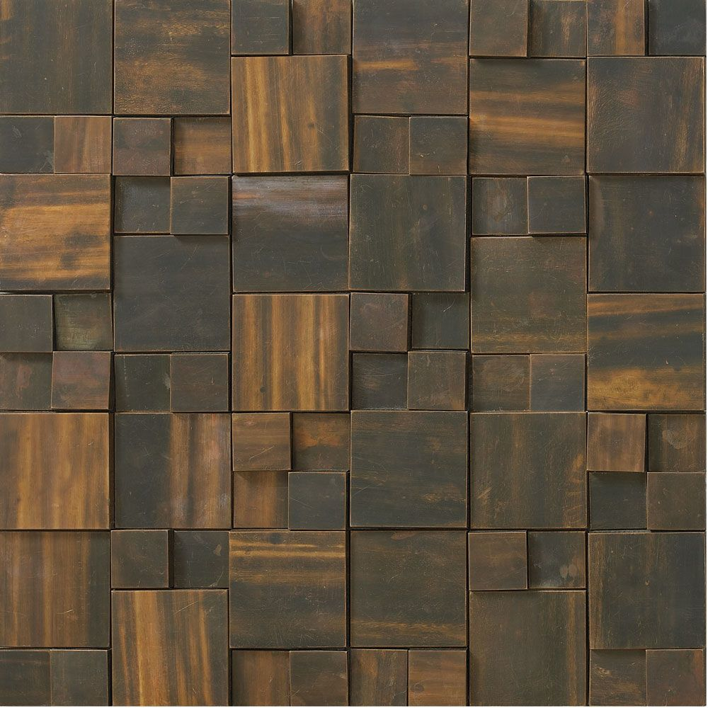 Dark Copper Mixed Square Mosaic Tiles