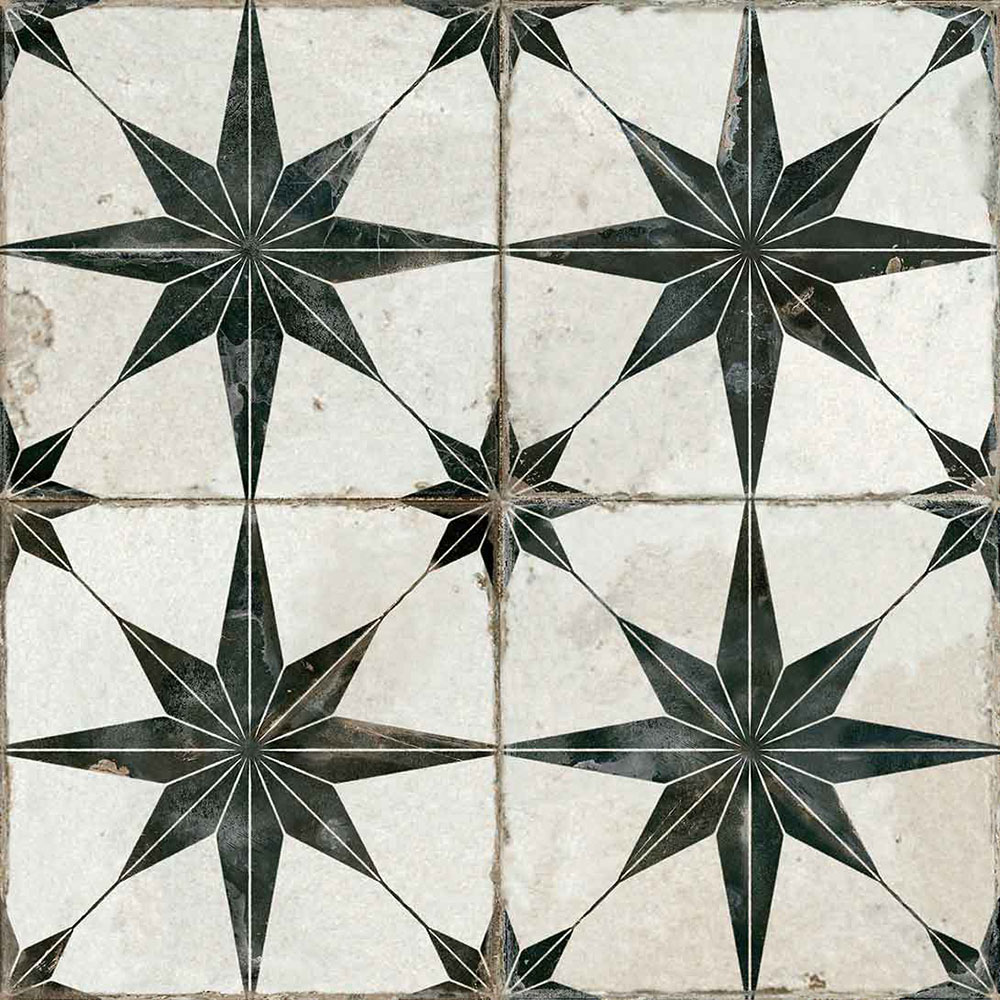 Scintilla Black Star Pattern Tiles