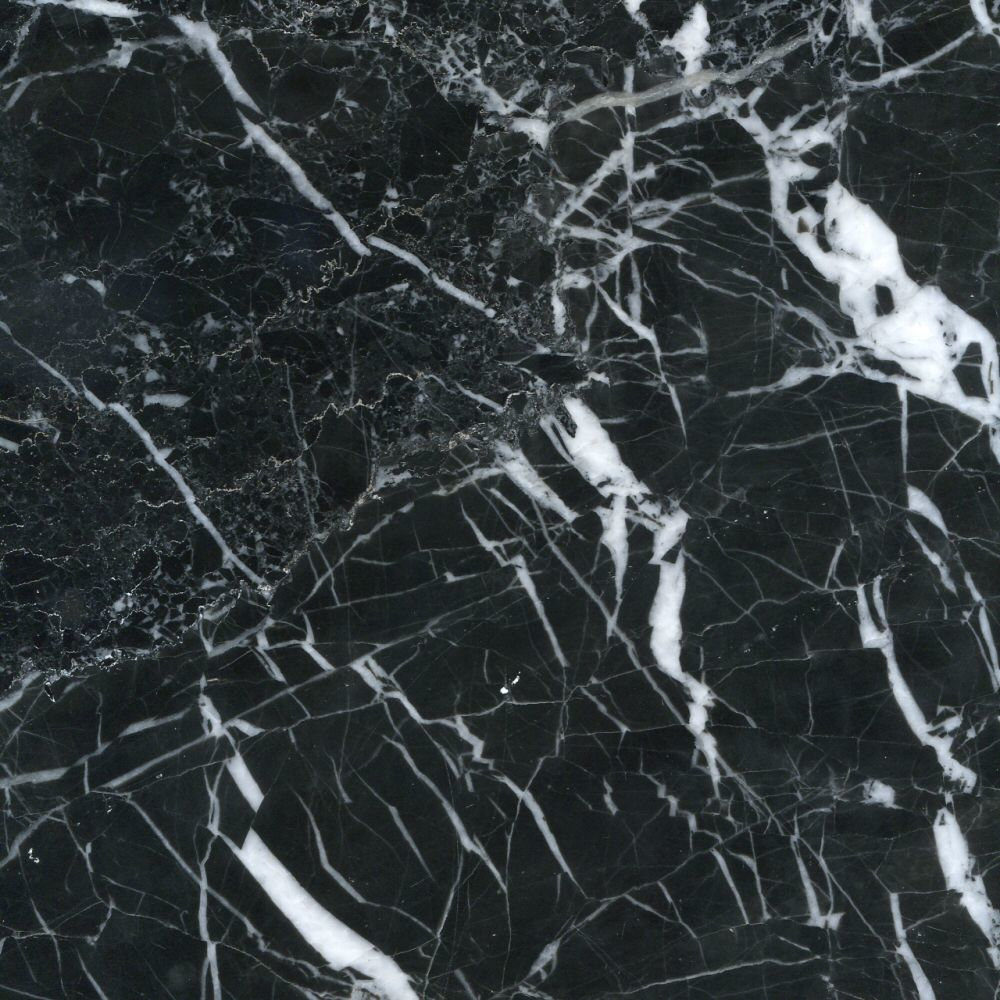 Black Veined Polished Marble Tiles