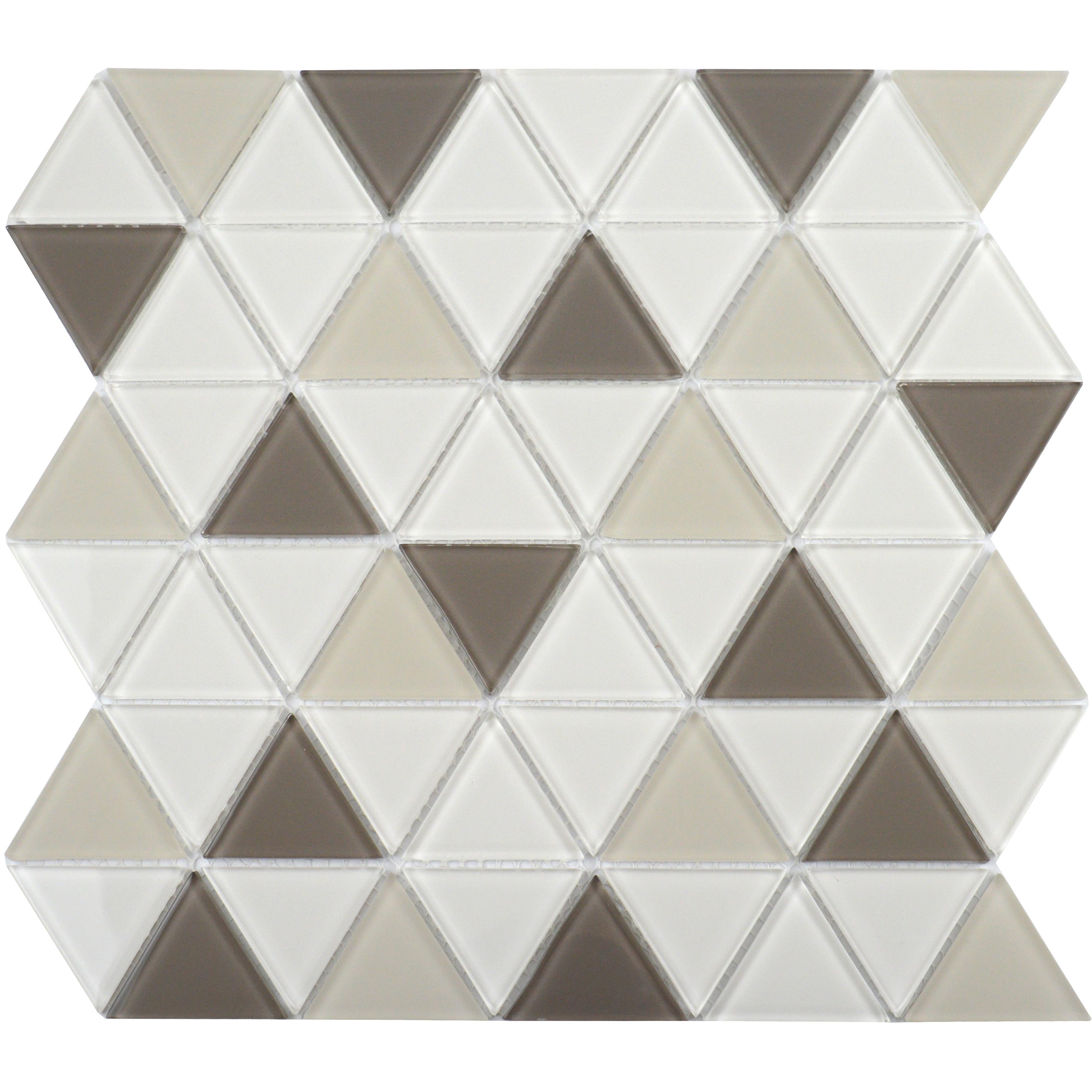 Ligo Glass Latte Triangle Mosaic Tiles