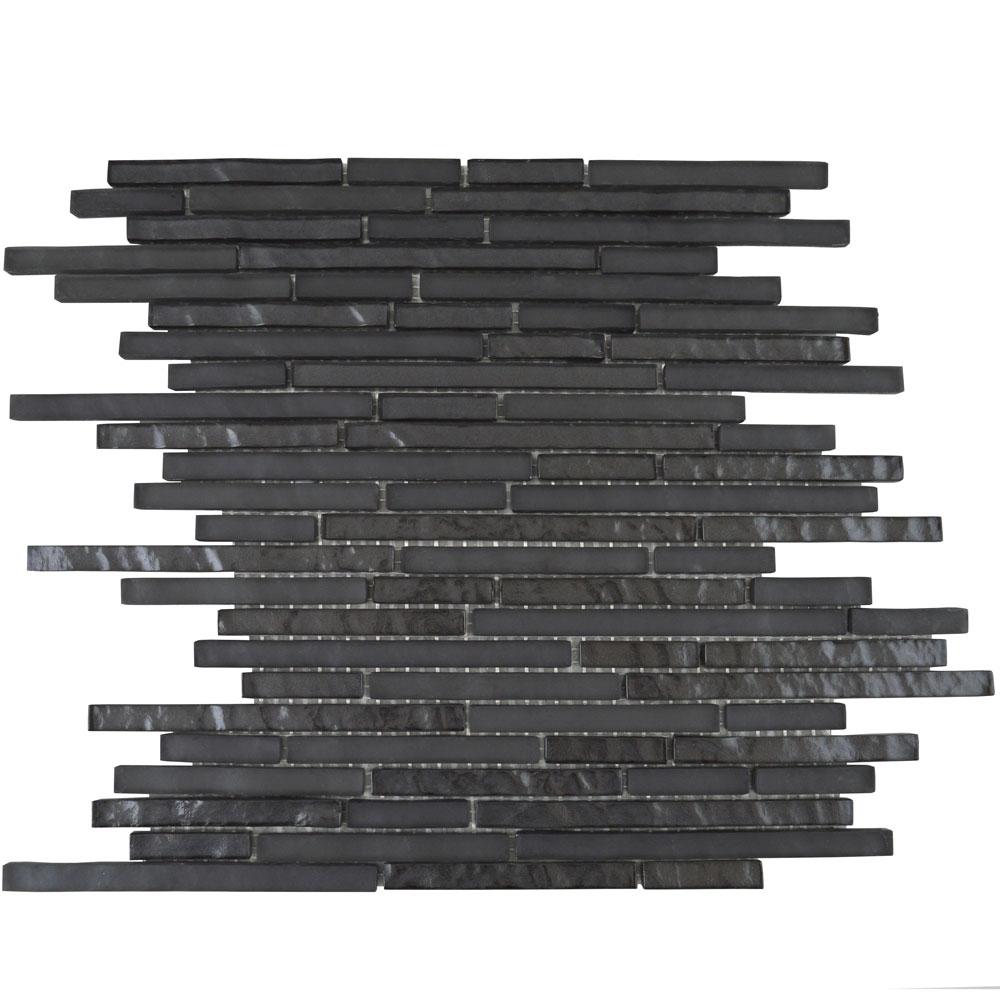 Titanic Linear Desert Black Mosaic Tiles